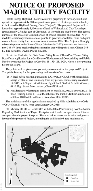 Notice of proposed major utility facilty
