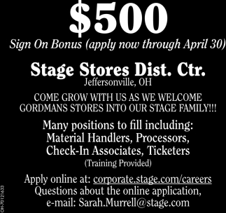 $500 Sign On Bonus - apply now through April 30