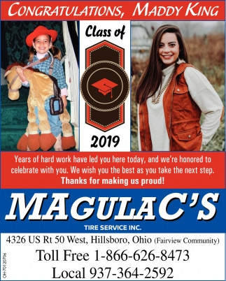 Congratulations, Maddy King - Class of 2019