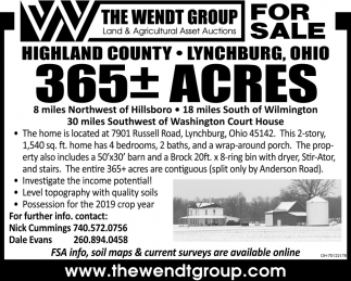 365 Acres Highland County, For Sale