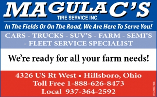 In The Fields Or On The Road, We Are Here To Serve You!
