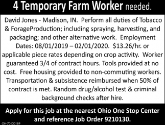 4 Temporary Farm Worker