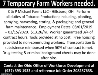 7 Temporary Farm Workers