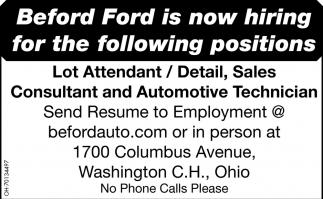 Lot Attendant / Detail Sales Consultant / Automotive Technician