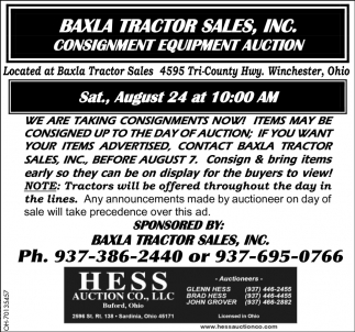 Consignment Equipment Auction