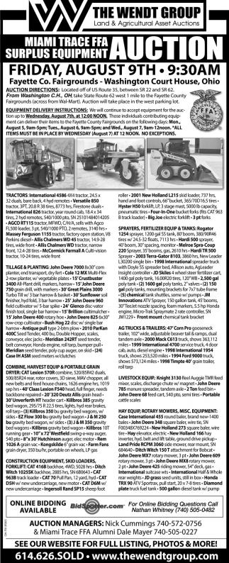 Surplus Equipment Auction, The Wendt Group, Inc , Plain City, OH