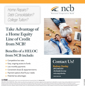 Take Advantage of a Home Equity Line of Credit from NCB!