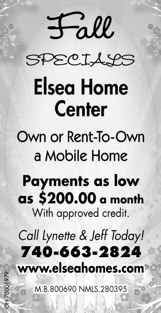 Own or rent-to-Own a Mobile Home, Elsea Home Center