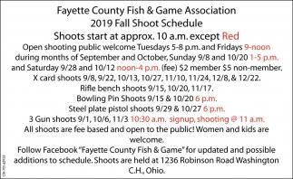 2019 Fall Shoot Schedule