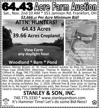 Acre Farm Auction - Nov. 2nd