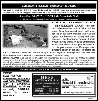 Holman Farm and Equipment Auction - Nov. 30