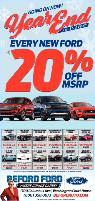 Every New Ford 20% Off