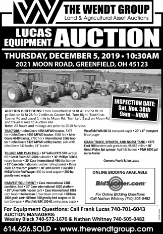 Lucas Equipment Auction December 5