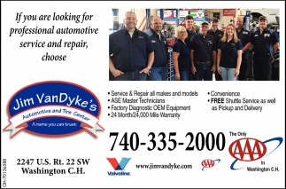 If you are looking for professional automotive service and repair, choose