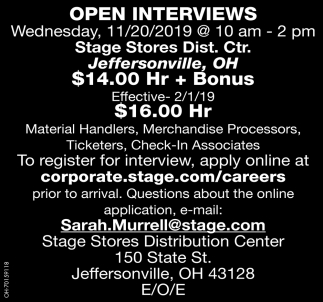 Open Interviews - 11/20/2019