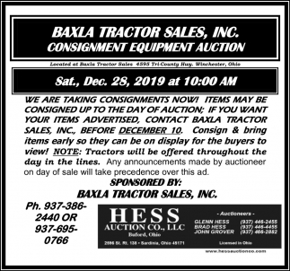 Consignment Equipment Auction - De. 28