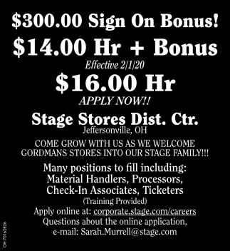 $300.00 Sign On Bonus