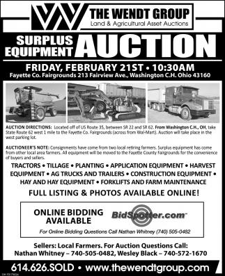 Surplus Equipment Auction - February 21st