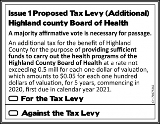 Issue 1 Proposed Tax Levy