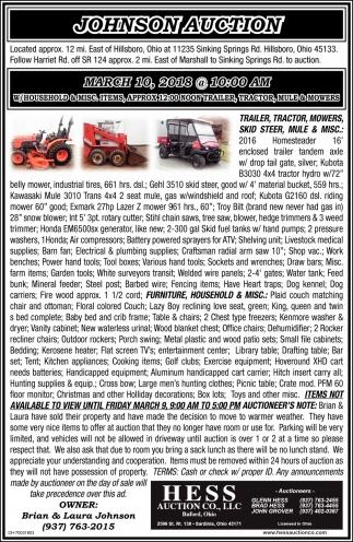 Johnson Auction, Hess Auction Co, Sardinia, OH