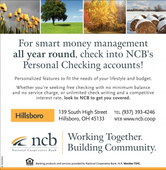 NCB's Personal Checking accounts