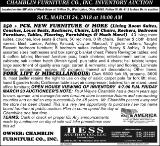 Chamblin Furniture Co., Inventory Auction