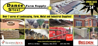 Over 7 acres of Landscaping, Farm, Metal and Industial Supplies!