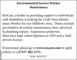 Environmental Service Worker Maintenance