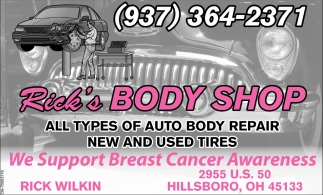 All types of auto body repair new and used tires