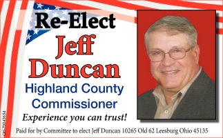 Re-Elect Jeff Duncan Highland County Commissioner