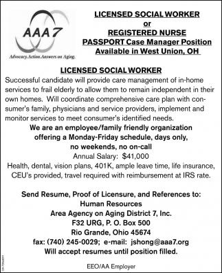 Social Worker or Registered Nurse