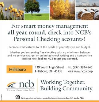 NCB's Personal Checking accounts