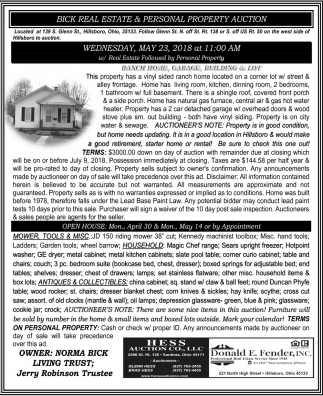 Bick Real Estate & Personal Property Auction