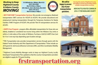 Transportation for Highland and Adams Counties Ohio