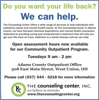 Do You Want Your Life Back We Can Help Counseling Center Inc