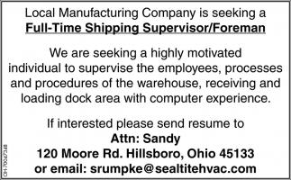 Shipping Supervisor/Foreman