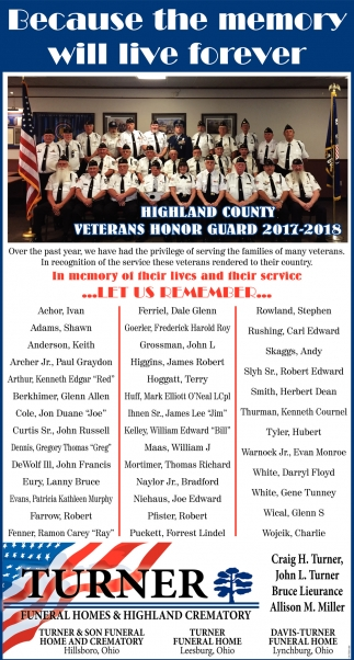 Highland County Veterans Honor Guard 2017-2018