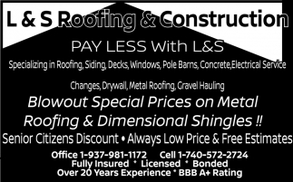 L & S Roofing & Construction