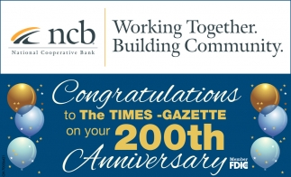 Congratulations to The Times Gazette on your 200th Anniversary