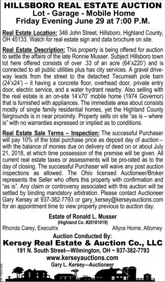 Hillsboro Real Estate Auction