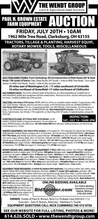 Paul H. Brown Estate Farm Equipment Auction