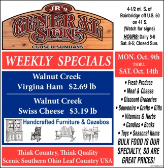 BULK FOOD IS OUR SPECIALTY, SO ARE GREAT PRICES!