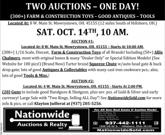 TWO AUCTIONS-ONE DAY!
