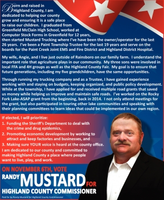 Randy Mustard for Highland County Commissioner