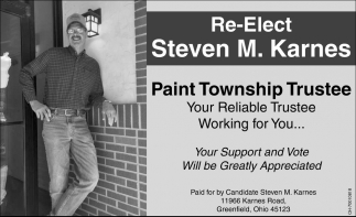 Re-elect Paint Township Trustee