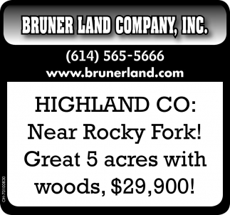 Highland Co: Near Rocky Fork. Great 5 acres with woods